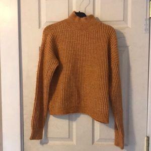 mustard mock neck sweater